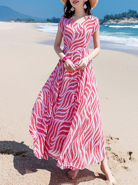 V-Neck Sweet Big Hem Short Sleeve Maxi Dress