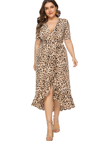 Oversize Lotus Leaf Leopard Skater Dress