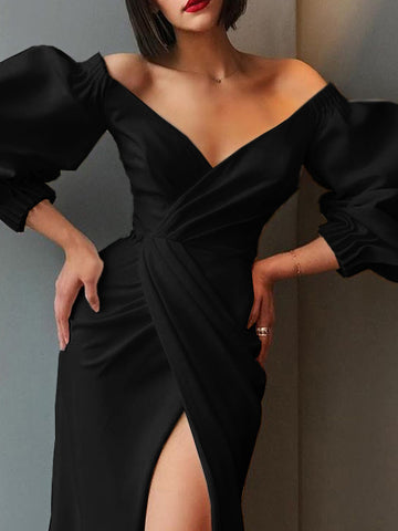 Puff Sleeve Asymmetric High Waist Party Dress