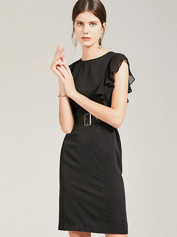 O-Neck Lotus Sleeves Black Work Bodycon Dress