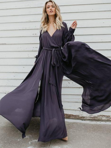 Solid Color Big Hem Deep V-Neck Lacing Maxi Dress