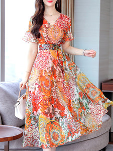 Chiffon Print V-Neck Short Sleeve Maxi Dress