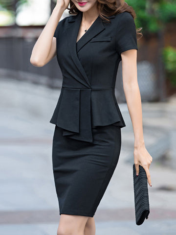 Lapel Collar Layerd-Look Sheath Falbala Bodycon Dress