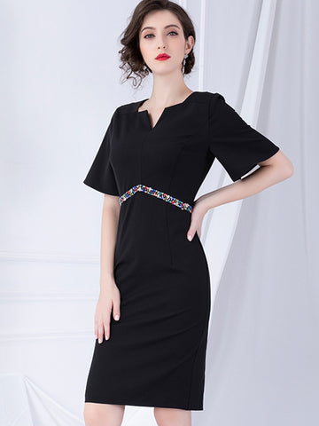 Beaded Decoration Sheath High Waist Dress