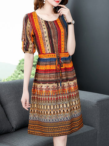 Lace-Up Multicolor Print 3/4 Sleeve A-Line Dress