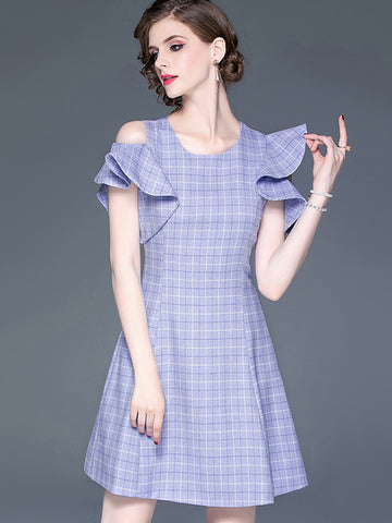 Asymmetric Lotus Sleeves Plaid Mini Skater Dress