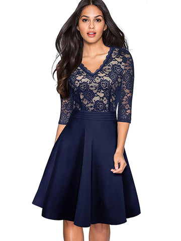 V-Neck Big Hem Lace 3/4 Sleeve Patchwork Dress