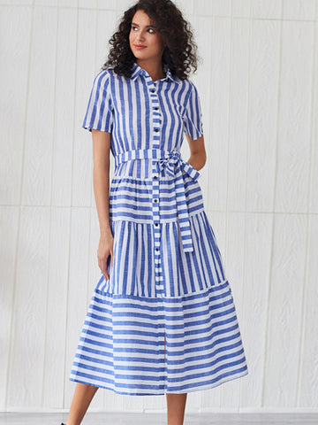 Bohemian Turn-Down Collar Lace-Up Stripe Dress