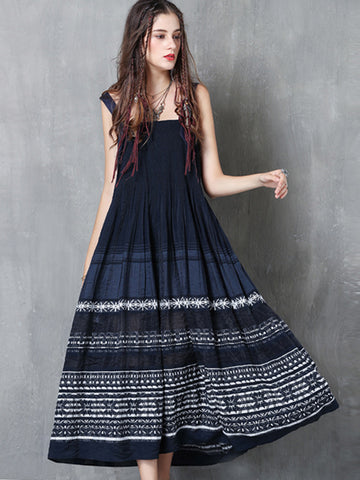Ethnic Embroidery Ruffles Big Hem Patchwork Dress