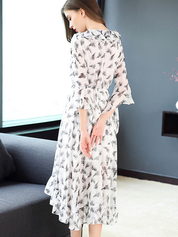 Falbala Asymmetric Ruffles Three Quarter Sleeve Dress