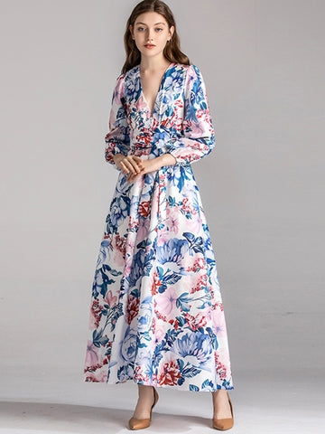 Single Breasted Puff Sleeve Print Big Hem Maxi Dress