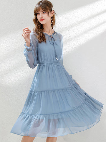 Flare Sleeve Lace-Up Chiffon Ruffles A-Line Dress