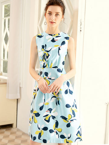 Slim Gathered Waist Print Sleeveless Party Dress