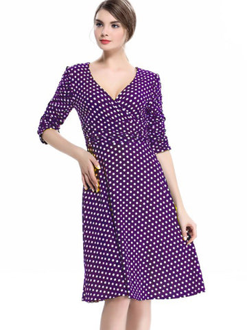 Polka Dot Ruffles Stitching A-Line Dress