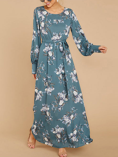 Casual Long Sleeve Lace-Up Print Maxi Dress