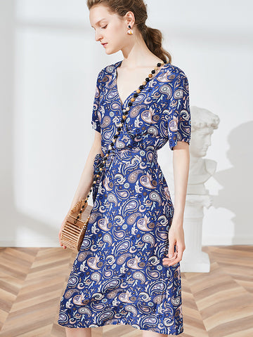 Paisley Pattern Lace-Up Gathered Waist Skater Dress