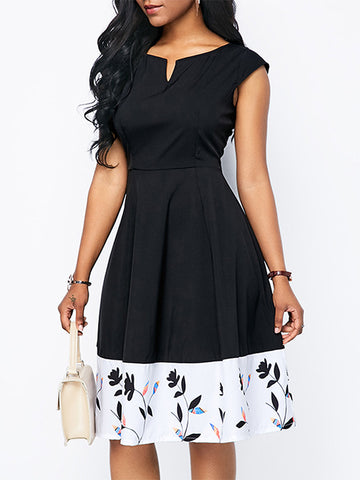 Color-Block High Waist Ruffles Skater Dress