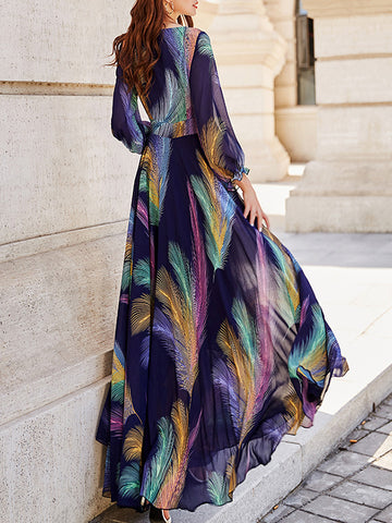 Falbala Ruffles O-Neck Bohemian Long Dress