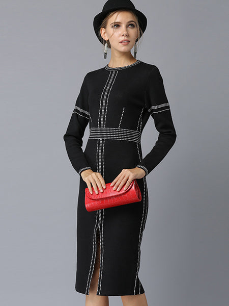 Patchwork Slit Gathered Waist Sheath Dress