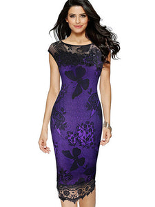 Lace Embroidery Stitching Zipper Bodycon Dress