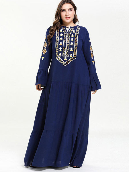 Oversize Patchwork Multi-Layer Embroidery Maxi Dress