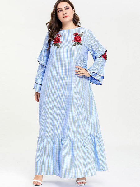 Oversize Flare Sleeve Embroidery Plaid Maxi Dress