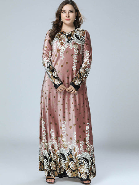 Oversize Pleuche Long Sleeve Print Maxi Dress
