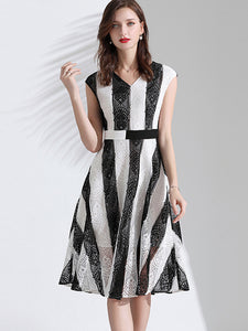 Color-Block Stripe Lace V-Neck Skater Dress
