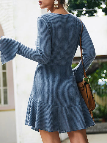 Sexy Knit Flare Sleeve Deep V-Neck Skater Dress