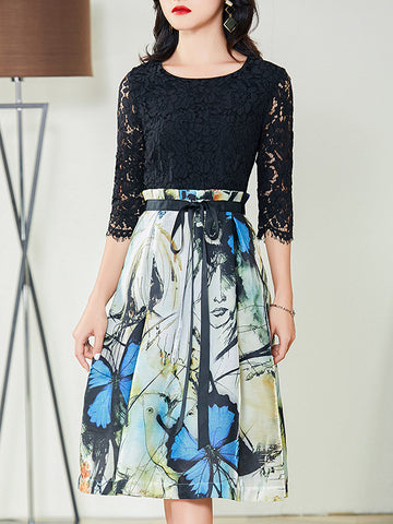 Lace-Up Patchwork Lace Gathered Waist Skater Dress