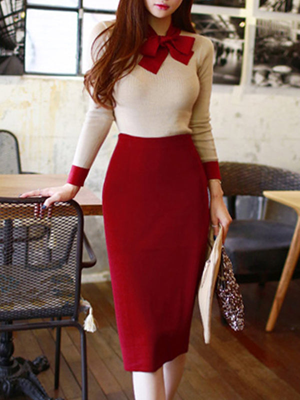 Bowknot Long Sleeve Stitching Bodycon Dress