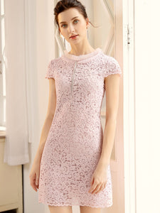 Half-Collar Lace Patchwork Slim Bodycon Dress