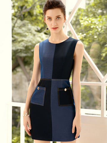 Pocket Denim Stitching Mini Bodycon Dress