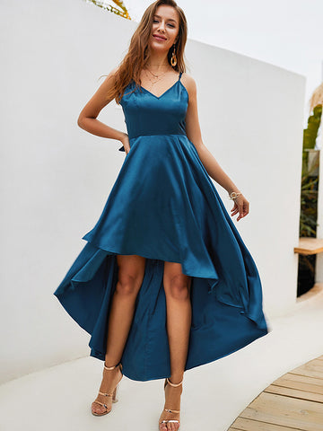 Slip Low Neck Asymmetric Skater Dress