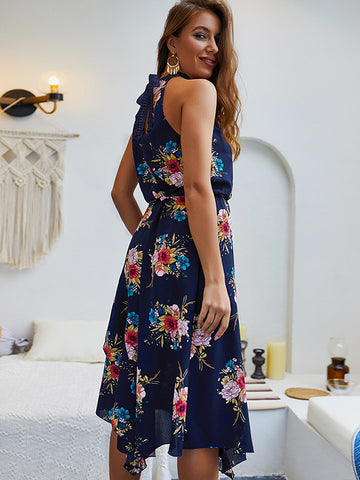 Sleeveless Print Asymmetric Bohemian Ruffles Skater Dress
