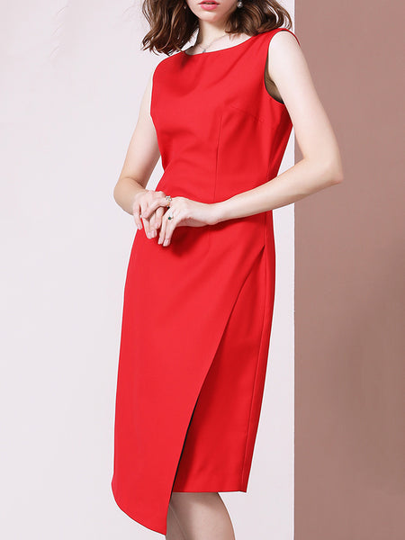 Red Asymmetric Patchwork Gathered Waist Bodycon Dress