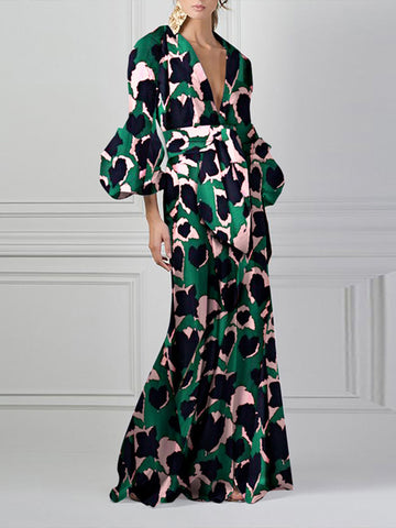 Party Deep V-Neck Puff Sleeve Print Maxi Dress