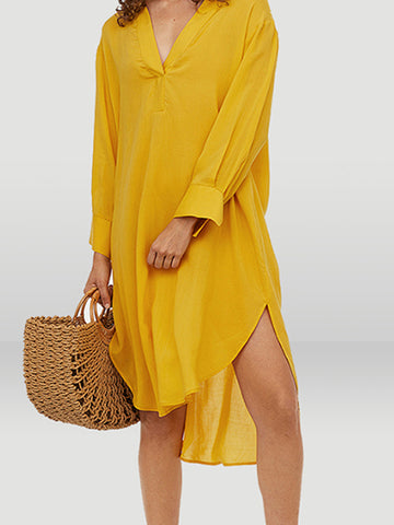 Asymmetric Slit Loose Low Neck Shift Dress