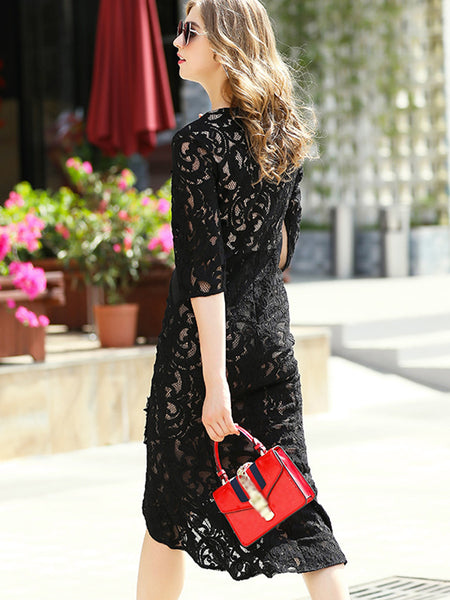 Black Patchwork Lace Mermaid Sheath Dress