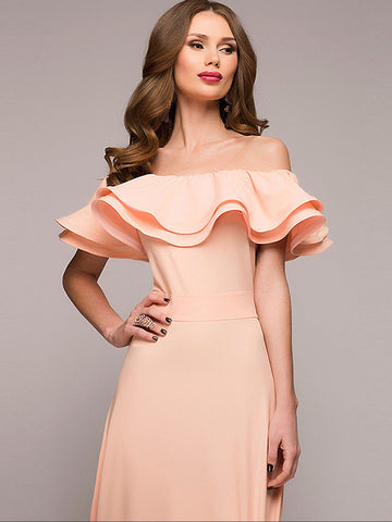 Elegant Pure Color Slash Neck Asymmetrical Sheath Dress