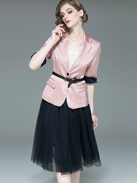 Mesh Stitching Lapel Collar Stripe Two-Piece Dress