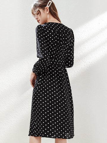 Polka Dot Lace-Up Long Sleeve Skater Dress