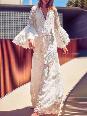 Low Neck White Embroidery  Big Hem Lace Maxi Dress