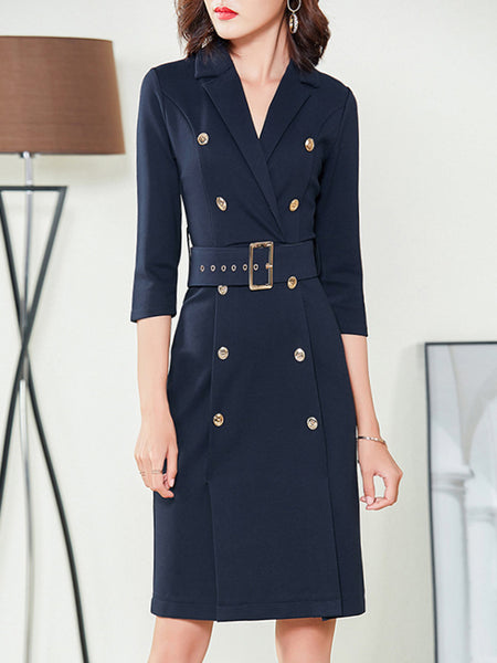 Sashes Button Lapel Collar Slit Bodycon Dress