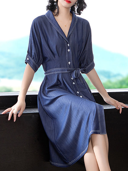 Belt Cotton Turn-Down Collar Blue Skater Dress