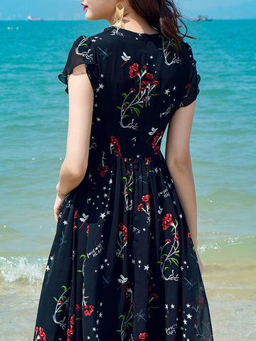 Floral Print V-Neck Big Hem Short Sleeve Maxi Dress