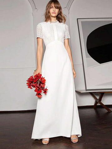 White Stitching Hollow Out Slim Maxi Dress