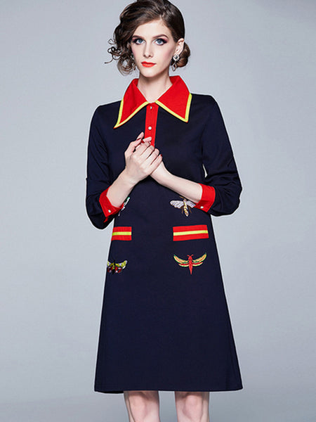 Embroidery Turn-Down Collar Button Skater Dress