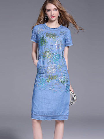 Sequins Pocket Denim Zipper Shift Dress