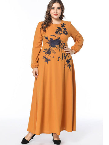 Yellow Patchwork Print Long Sleeve Maxi Dress